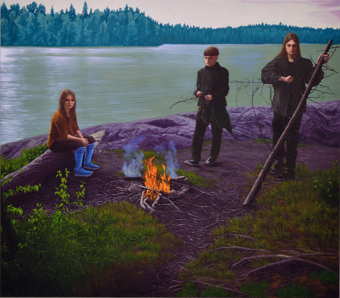 A painting in which three people have gathered around a campfire.