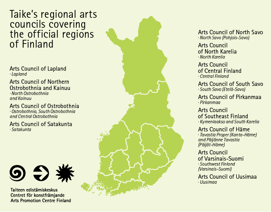 A map of Finland showing Taike´s regional arts councils' operating areas.