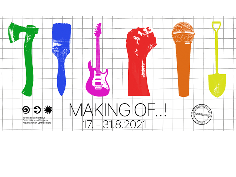 Green ax, blue brush, pink guitar, red fist, orange microphone and text Making of ..! August 17-31, 2021 and checkered background