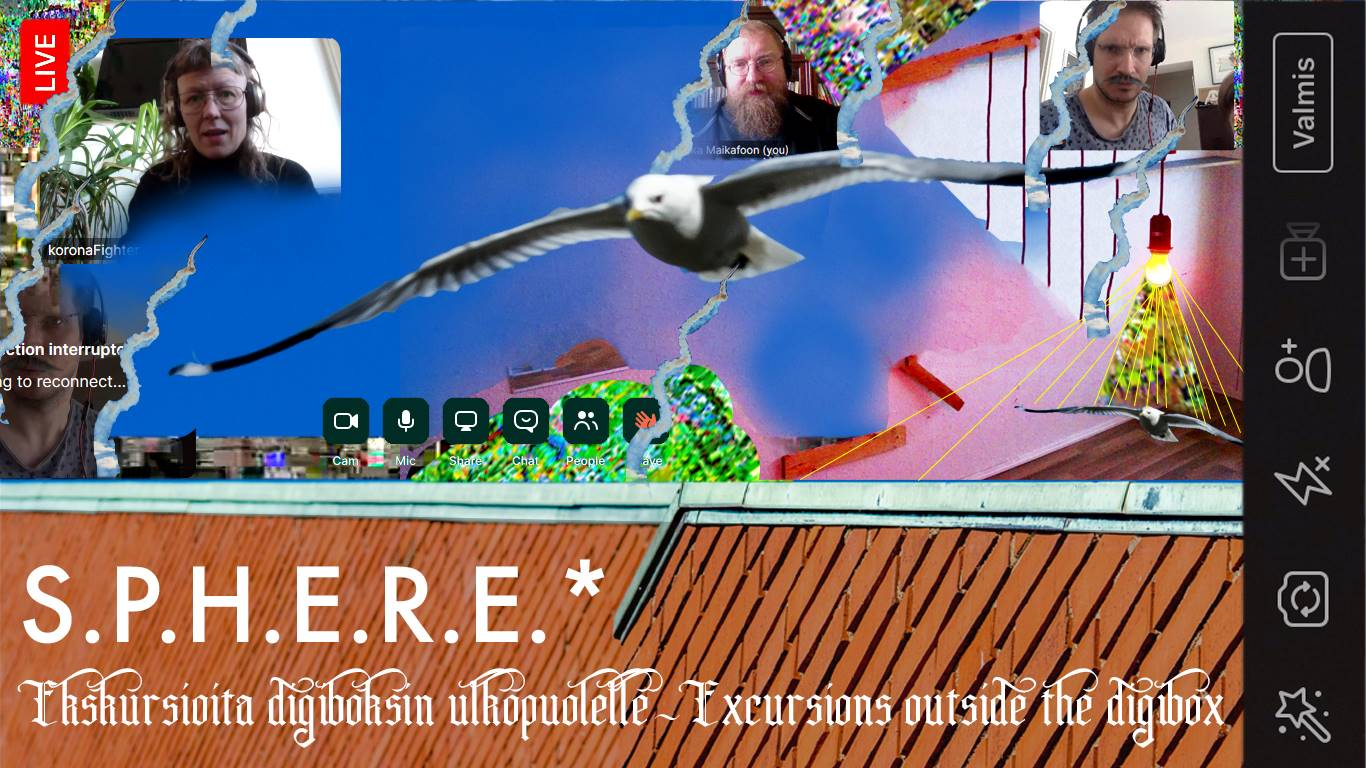 A collage of people, seagulls, jet planes, electric appliances, sky, buildings and online meetings.