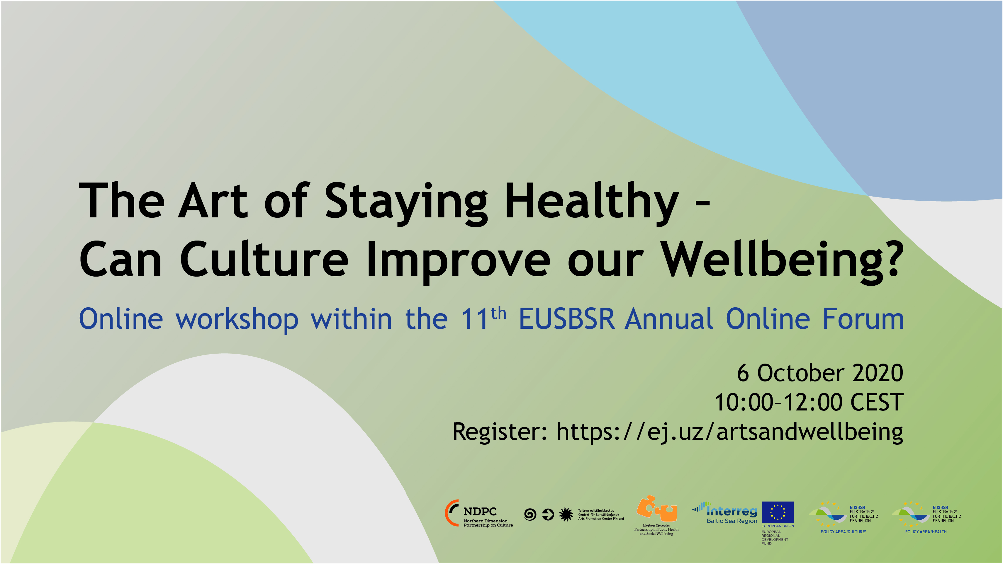 Text-Banner art of staying healthy, online workshop in 6th October